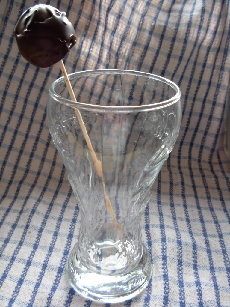 chcolate skewers in glass