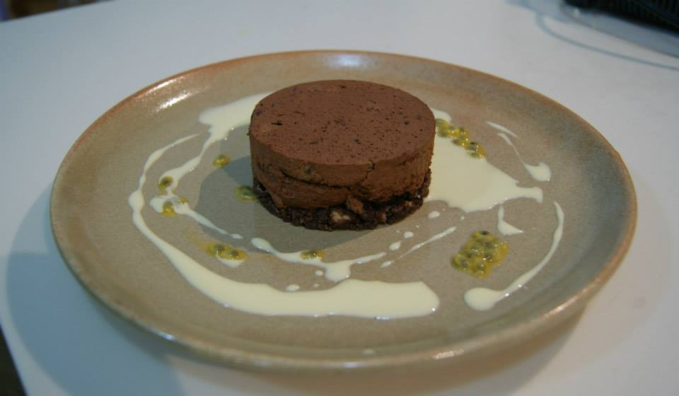 Chocolate and passion fruit torte with lavender cream