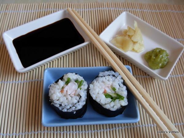 Prawn sushi with accompaniments