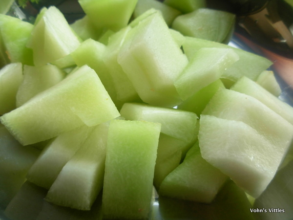 chopped melon