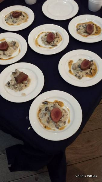 Mushroom risotto with roast loin of venison