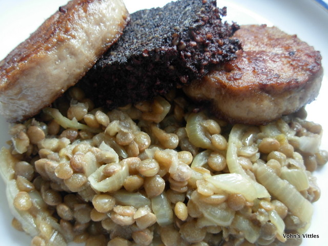 Venison boudin with lentil cassoulet