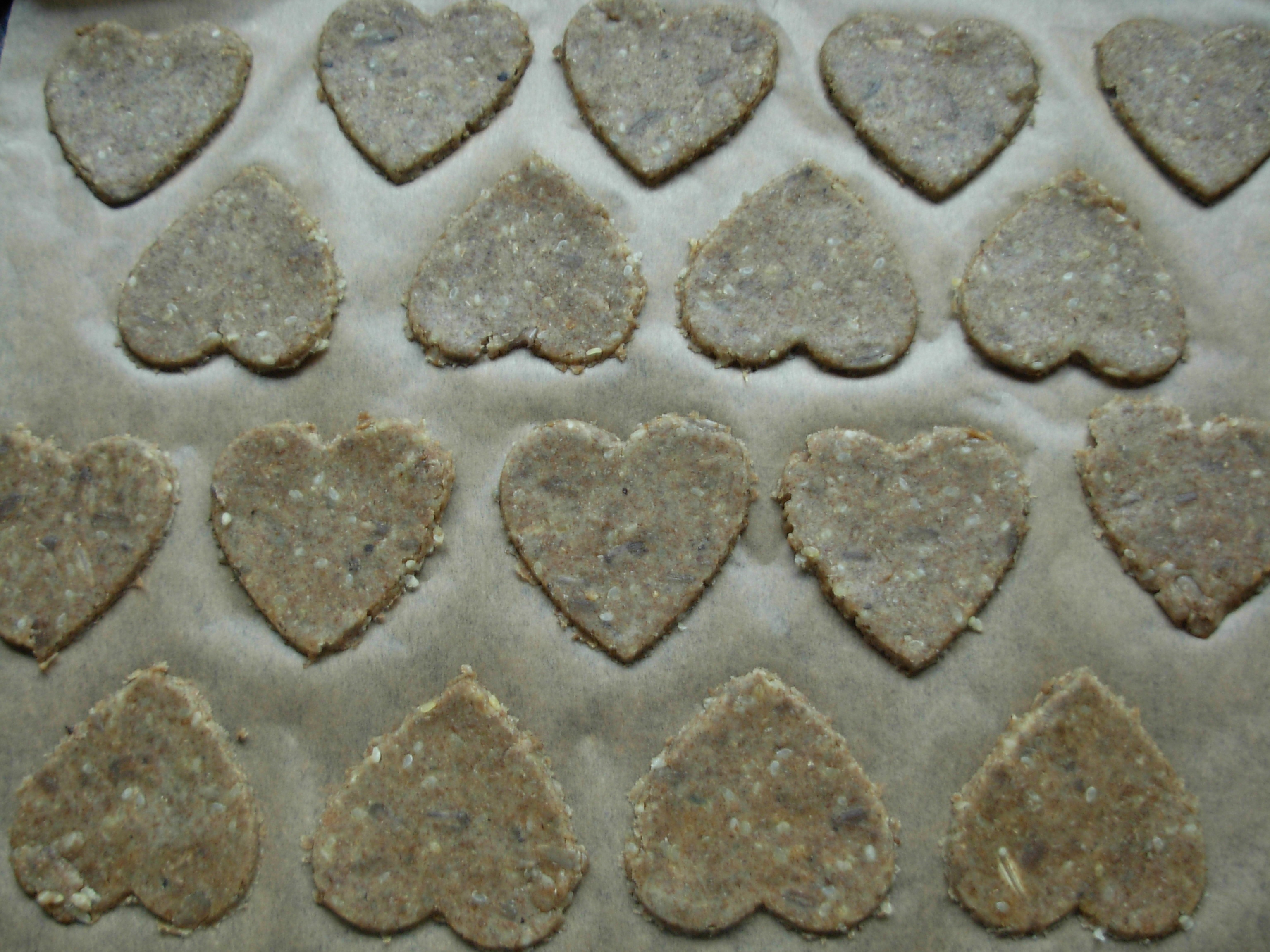 Rye pastry healthy heart cut outs