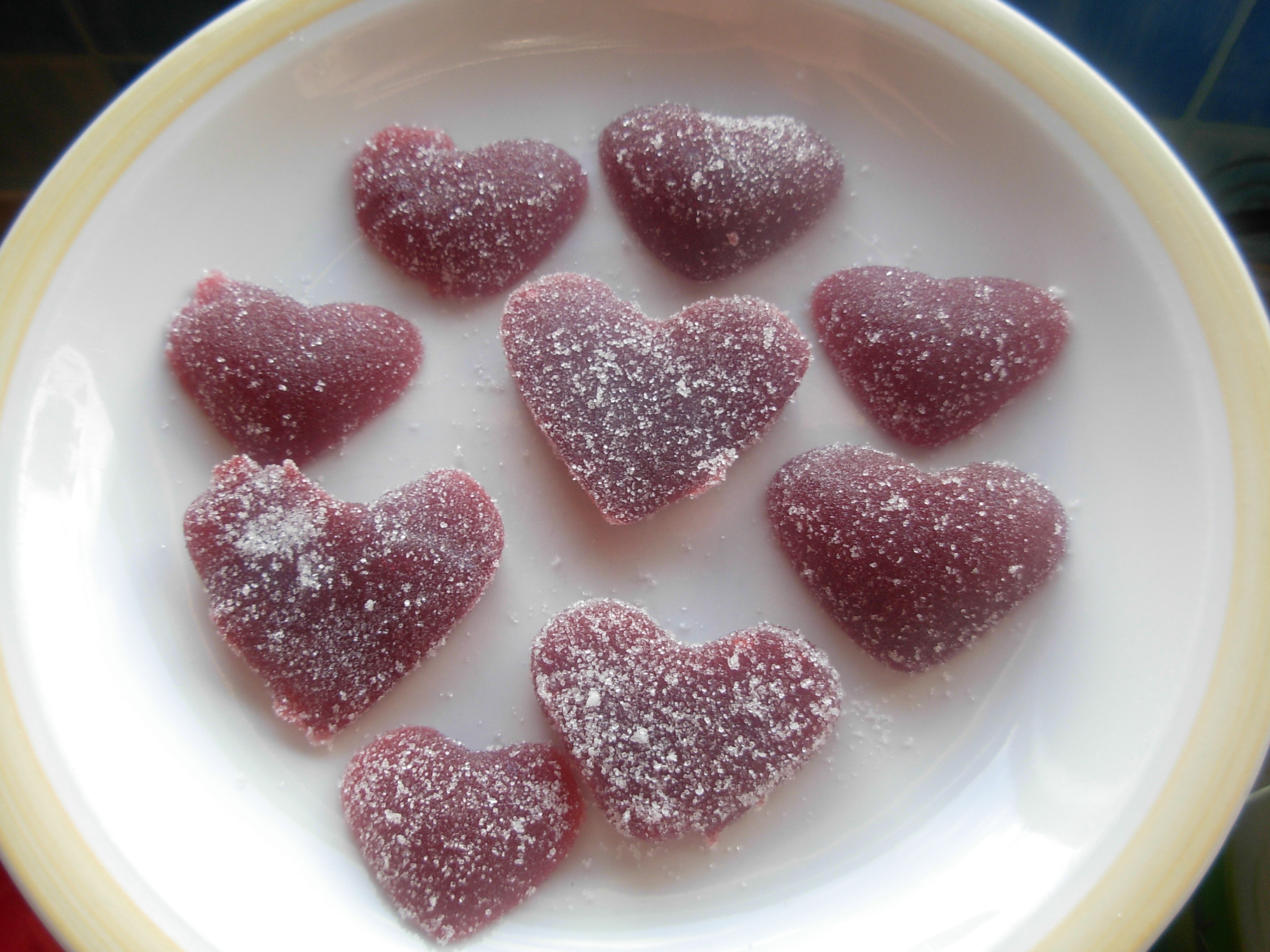 Strawberry chilli jelly hearts