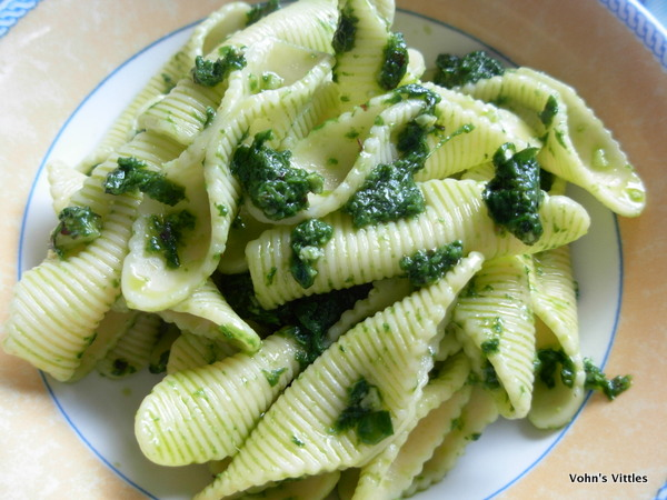 Plate pasta with wild garlic pesto