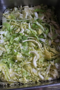 Shredded cabbage in sink
